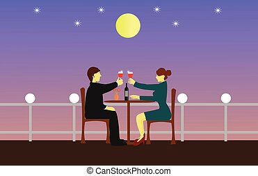 Couples are sipping wine on a wooden table. The rooftop has ...