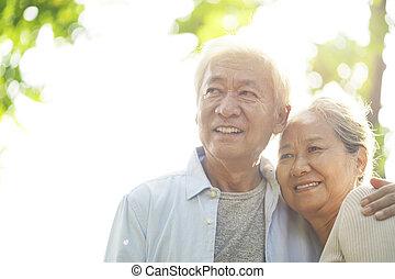 couples asiatiques, portrait, personne agee, aimer
