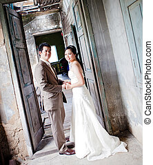 couples at church - couples of groom and bride portrait in...