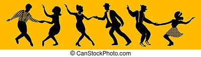 couples, bandiera, horisontal, silhouette, ballo