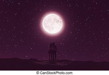 couples, chiaro di luna, amore, sotto