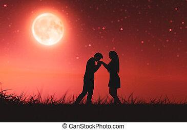 couples, clair lune, amour, sous