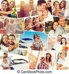 couples., collage, positivité, couples, divers, multi-ethnique, exprimer, aimer