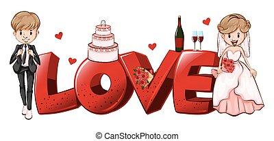 couples, conception, amour, mot, mariage