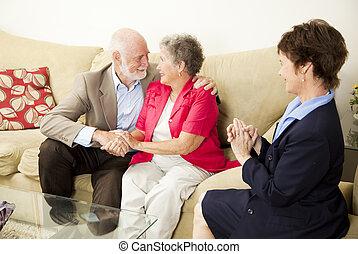 couples, consiglio, -, felice, risultato