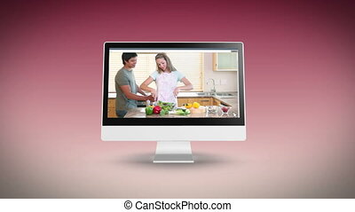 Couples cooking together in a kitch