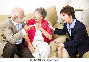Couples Counseling - Argument - Senior couple in marriage...