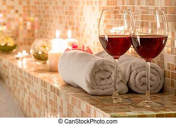 couples, décoration, salle bains, romantique, aimer