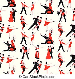 Couples dancing latin american romantic person people dance man with woman tango pose seamless pattern background vector illustration.