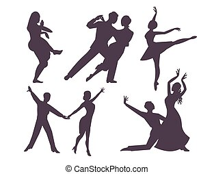 Couples dancing silhouette latin american romantic person and people dance man with woman ballroom entertainment together tango pose beauty vector illustration.