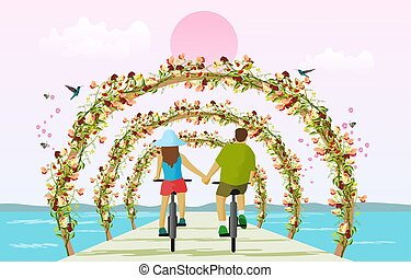 Couples driving a bicycle holding hands on a bridge across the sea With wooden pergola