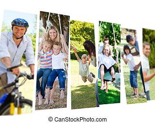 couples, enfants, leur, temps, dépenser, collage