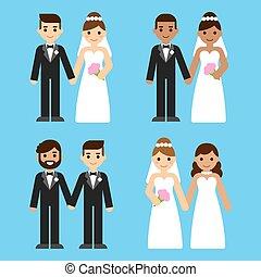 couples, ensemble, dessin animé, mariage