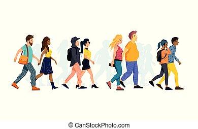couples ensemble, marche, jeune, collection