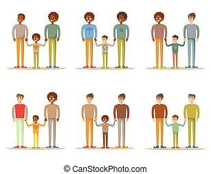 couples gais, fils, adoptif, mâle, heureux