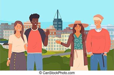 couples, geste, bâtiments, proverbe, urbain, bonjour, fond, ...