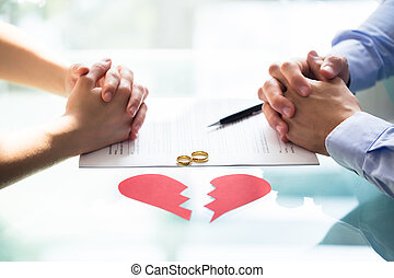 Couple's Hand On Divorce Paper