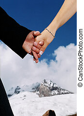 Couple\\\'s hands - Newlyweds holding hands