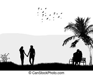 Couples in a park