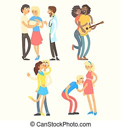 Couples in Love Activities, Vector Illustration