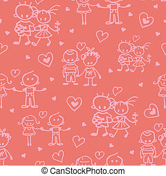 Couples in love seamless pattern background