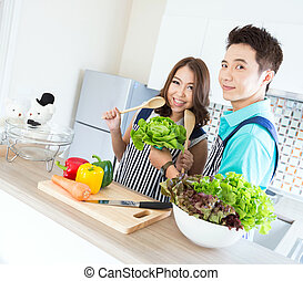 Couples in modern Kitchen