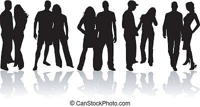 couples, -, jeune, peopel