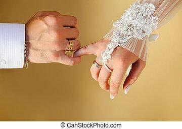 couple's, mãos, com, anéis casamento