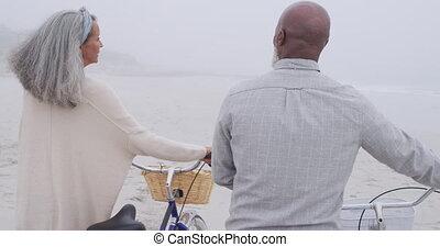 couples mûrs, mer, apprécier, dehors, temps