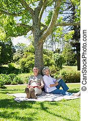 couples mûrs, parc, arbre, contre, séance