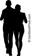 Couples man and woman silhouettes on a white background. Vector illustration