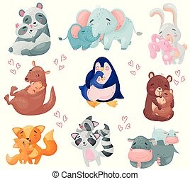 Couples of animals. Mom and baby. Vector illustration on white background.