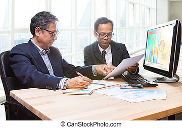 couples of business man team meeting strategy analysis for...