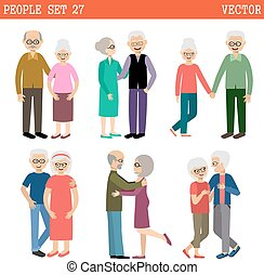 Couples of elderly people - Loving couples of elderly...