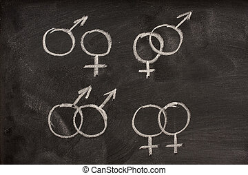 couples of male and female gender symbols on a blackboard