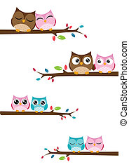 couples of owls sitting on branches - Vector Illustration of...
