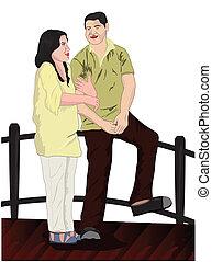 Couples on the bridge