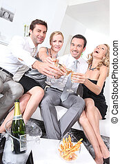 Couples partying