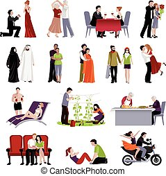 Couples People Flat Set