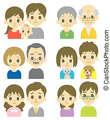 Couples perplexed expression - Couples young and senior, ...