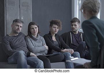 couples, psychologue, jeune, écoute