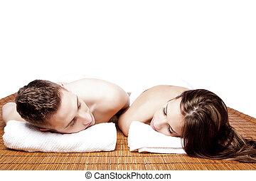 couples, ritirata, rilassante, terme
