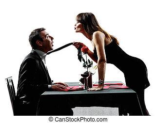 couples, silhouette, amanti, cena, datazione
