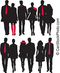 couples, silhouette