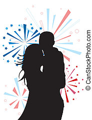 Couple's silhouette on firework background