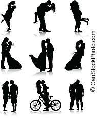 couples, silhouette, romantico