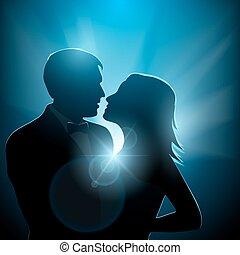 couples, silhouette, romantico