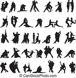couples, silhouette, set, danci