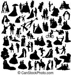 couples, silhouettes, ensemble