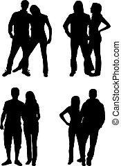 couples, silhouettes, -, gens